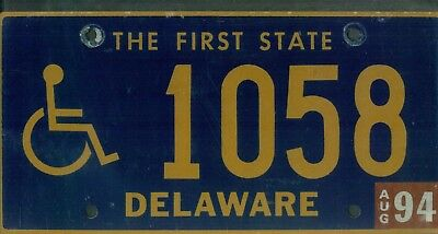 "DELAWARE 1994 license plate ""1058"" ***NATURAL***HANDICAPPED/DISABLED***"