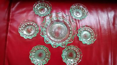 Green  Glass Fruit Bowl and Dishes