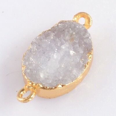 16x12mm Oval Natural Agate Druzy Geode Connector Gold Plated B049833