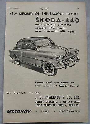 1955 Skoda 440 Original advert