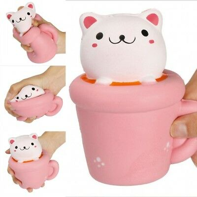14CM Squishy Cute Cup Cat Squeeze Slow Rising Toy Relieve Anxiet Fun Decor Gift