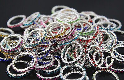 Costume Jewellery Lots 93pcs colorful small rhinestone rings EH181