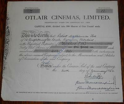31456 GB 1952 Otlair Cinemas 12  shares certificate