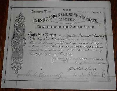 31457 GB 1892 Caustic Soda & Chlorine Syndicate 225 shares certificate