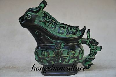 Old Collectible Chinese Bronze Handwork Carved Beast Shaped Container