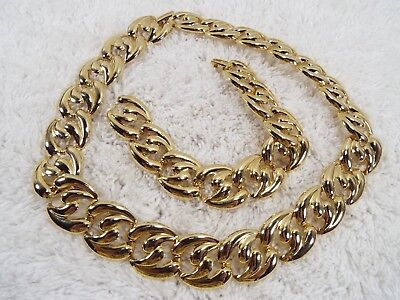 Goldtone Link Necklace + Bracelet Set (A70)