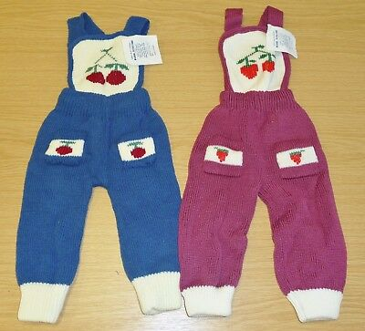 2 x VINTAGE 1970's UNWORN BABIES KNITTED DUNGAREES ASSORTED COLOURS (PATTERN A)