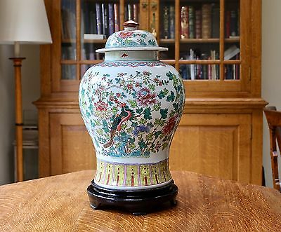 Substantial large chinese hand decorated temple jar on wooden stand 2