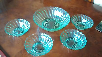 Green Uranium Glass Fruit Bowl and Dishes