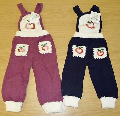 2 x VINTAGE 1970's UNWORN BABIES KNITTED DUNGAREES ASSORTED COLOURS (PATTERN E)