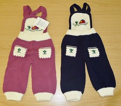 2 x VINTAGE 1970's UNWORN BABIES KNITTED DUNGAREES ASSORTED COLOURS (PATTERN F)