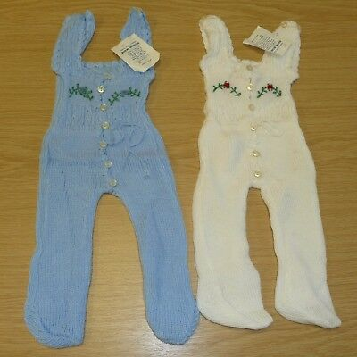 2 x VINTAGE 1970's UNWORN BABIES KNITTED DUNGAREES ASSORTED COLOURS (PATTERN H)