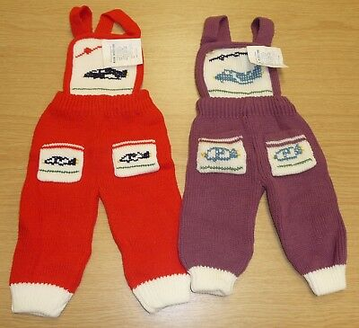 2 x VINTAGE 1970's UNWORN BABIES KNITTED DUNGAREES ASSORTED COLOURS (PATTERN K)