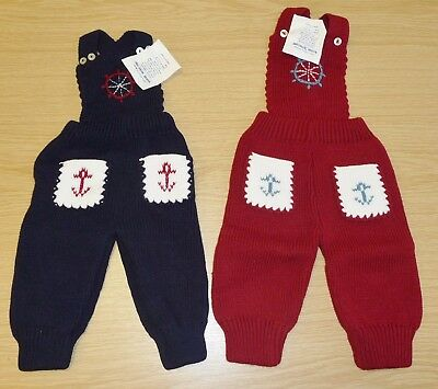 2 x VINTAGE 1970's UNWORN BABIES KNITTED DUNGAREES ASSORTED COLOURS (PATTERN M)