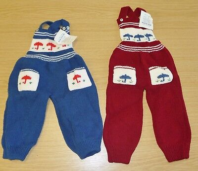 2 x VINTAGE 1970's UNWORN BABIES KNITTED DUNGAREES ASSORTED COLOURS (PATTERN P)