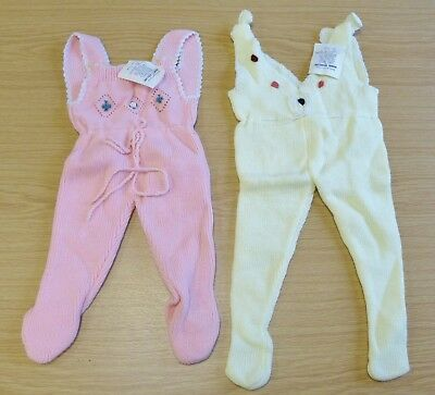 2 x VINTAGE 1970's UNWORN BABIES KNITTED DUNGAREES ASSORTED COLOURS (PATTERN Q)