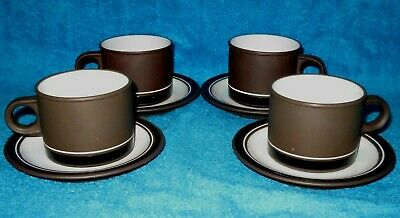4 X Hornsea Contrast Tea Cups And Saucers Vgc Vintage 1970's