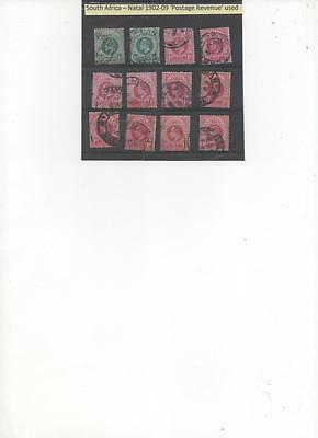 Natal 1902/9 collection of used Postage Revenue  Stamps