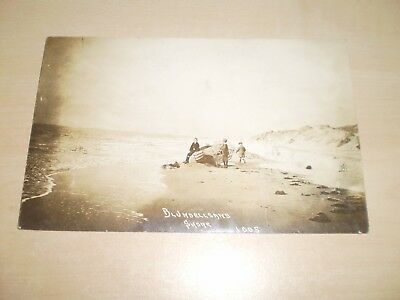 1907 Real Photo Postcard Of Blundellsands Shore Liverpool Boys With Old Boat