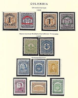 Colombia stamps 1925 Collection of 12 stamps HIGH VALUE!