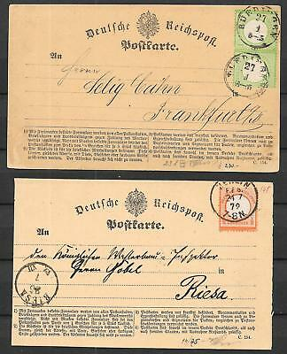 German Reich covers 1872 1/2gr PC + 1Kr Pair PC to Riesa and Frankfurt