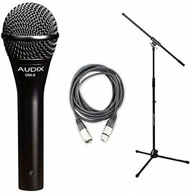 Audix*OM3 Bundle*Dynamic Vocal Mic w/20ft XLR Cable + Stand FREE SHIPPING