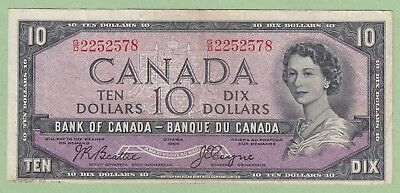 1954 Bank of Canada 10 Dollar Note Devil's Face - Beattie/Coyne - G/D2252578 -VF