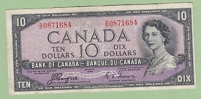 1954 Bank of Canada 10 dollar Note Devil's Face - Beattie/Coyne -D/D0871684 - VF
