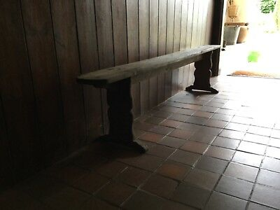 Antique Oak Trestle Board Bench: Wonderful Pale Colour