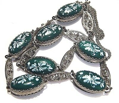 Ornate Sterling Silver Necklace Vintage Egg Shape Glass Guilloche Embossed