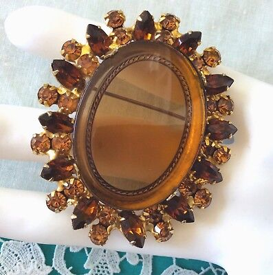 Rare D&E JULIANA Verified Topaz CAMEO RHINESTONE Brooch Pin Figure Eight EVC