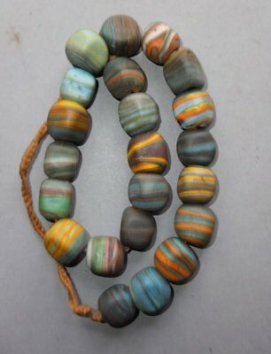 Heavy Necklace Strand Colored Glass Beads Nepal