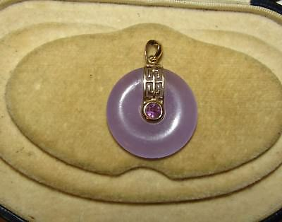 Charming, Art Deco, 14 Ct Gold Pendant With Purple Jade And Amethyst