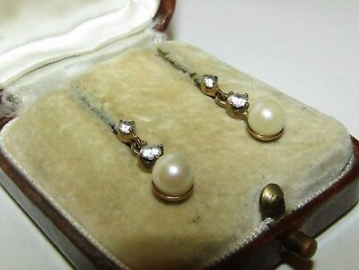 Elegant, Antique, 9 Ct Gold Earrings With Natural Akoya Pearl And White Sapphire
