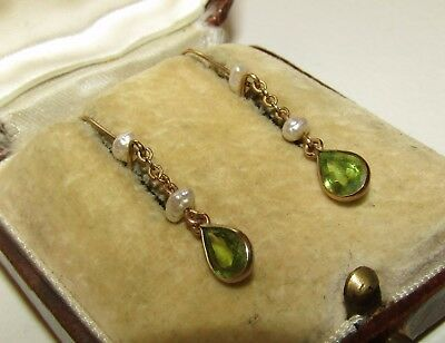 Delicate Art Deco 9 Ct Gold Earrings With Natural Peridot And Pearl