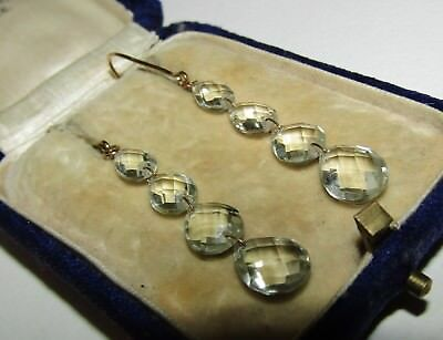 Long, Art Deco, 9 Ct Gold Earrings With Natural Green Amethyst Gems