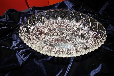 Cut Glass Hors D'Oeuvre 4 section dish versatile  Brand New No Box France