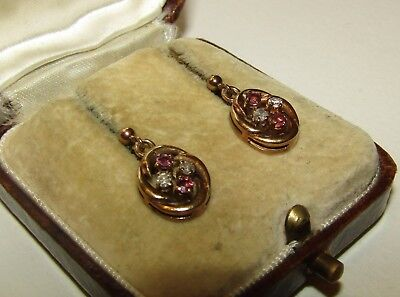Charming, Antique, 9 Ct Gold Earrings With Natural Rubies And Diamonds
