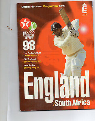 1998 The Foster Oval, England V Soth Africal. , Official Souvenir Programme.
