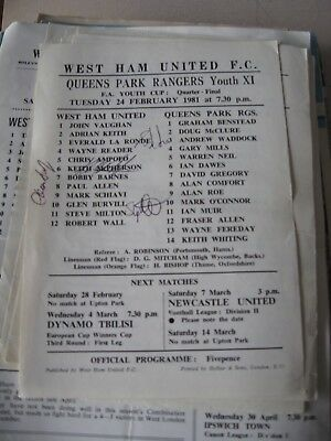 1980-81 West Ham United v Queens Park Rangers FA youth Cup quarter final 24.2.81