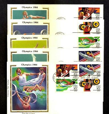 1983 OLYMPIC  AIRMAIL  (10)   FDC's  ALL  COLORANO CACHETS  U/A