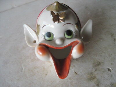 Vintage Retro 50's  Napco incense burner open mouth elf pixie face & butterfly