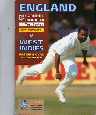 1995 THE FOSTER OVAL, ENGLAND v WEST INDIES , OFFICIAL SOUVENIR PROGRAMME.