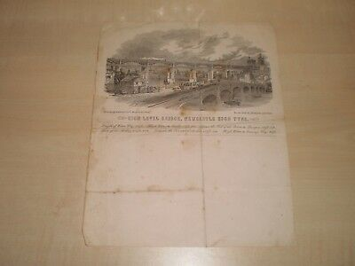 1850s High Level Bridge Newcastle Upon Tyne Original Illustrated Top Notepaper