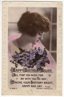 VINTAGE RP POSTCARD,BIRTHDAY,GLAMOUR,YOUNG LADY,FLOWERS,ROTARY B459,c1920s
