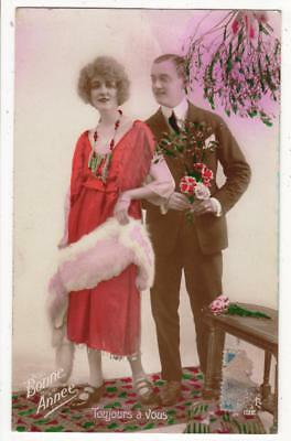 Vintage Rp French Deco Postcard, Romantic Couple,fashions,dede,new Year,1923