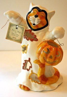 Super Sweet Blue Sky Clayworks Heather Goldminc Halloween Ghost Cat T Light Bwt!