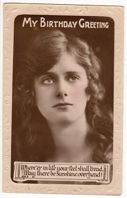 VINTAGE RP POSTCARD,BIRTHDAY,GLAMOUR,YOUNG LADY,c1920,LILYWHITE