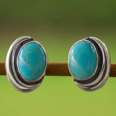 Blue Moon MEXICO silver recon turquoise EARRINGS