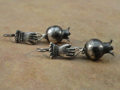 Mexican Mexico Sterling Silver Frida Squash Blossom Earrings